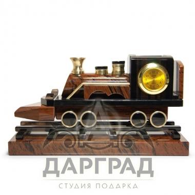 Настольные часы «Паровоз» (обсидиан) купить в подарок железнодорожнику