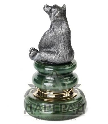 """Оснастка для печати """"Медведь с бочкой"""" из натурального камня в подарок"""