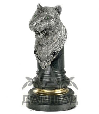 """Оснастка для печати """"Тигр"""" из натурального камня и серебра"""