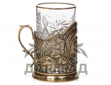 Подстаканник «Герб Петербурга» с хрустальным стаканом