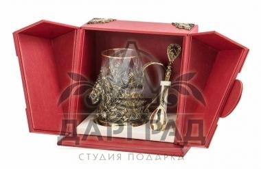 """Подарок мужчине Подстаканник """"Лев"""" в подарочной коробке"""
