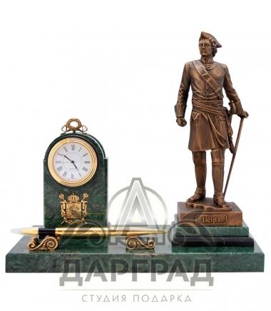 Настольный прибор с часами «Петр Великий» из камня и бронзы