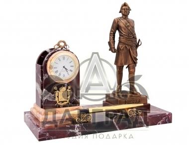 заказать Настольный прибор с часами «Петр I» (яшма) бизнес подарок с доставкой