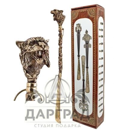 Ложка для обуви «Рысь» из бронзы в подарок мужчине охотнику