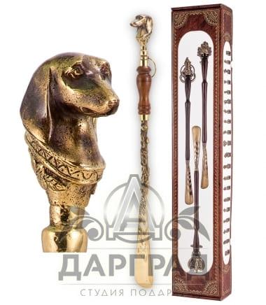 Ложка для обуви «Собака» с деревянной ручкой в магазине подарков Дарград
