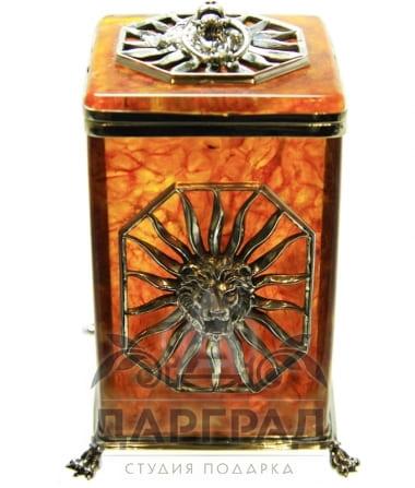 Купить Коробочка для чая из янтаря «Цезарь» в магазине подарков