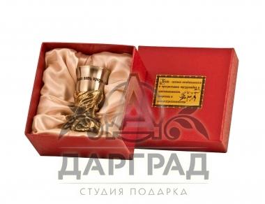 металлическая стопка бык в подарочной упаковке