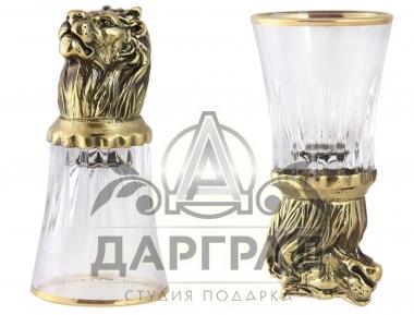 Подарок охотнику Стопка «Лев» стеклянная