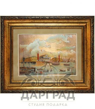 Гравюра на металле «Стрелка Васильевского острова» с росписью эмалями
