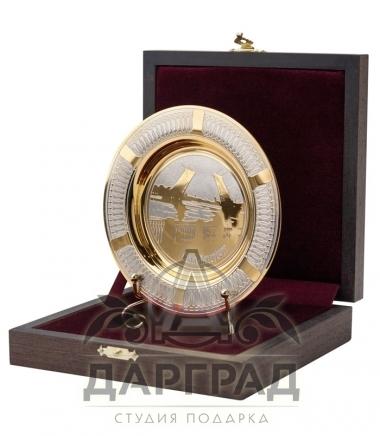 """Сувенирная тарелка """"Дворцовый мост"""" Златоуст в подарочной коробке"""