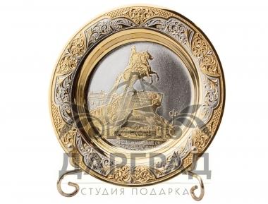 """Сувенирная тарелка """"Медный всадник"""" Златоуст в подарок иностранцу"""