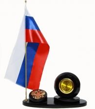 """Настольный набор из обсидиана """"Флаг с часами"""""""
