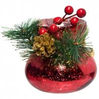 Овальная новогодняя вазочка (красная)