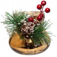 Овальная новогодняя вазочка (золотая)