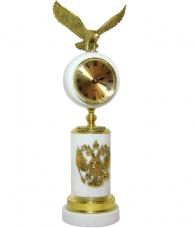 Часы «Орел» белый мрамор