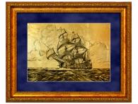 """Картина на золоте """"Барк в море"""" заказать с доставкой по России"""