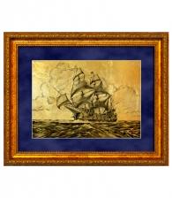 Картина на золоте «Барк в море»