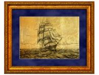 """Подарок моряку Картина на золоте """"Парусник в море"""" заказать с доставкой"""