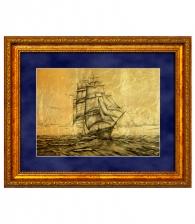 Картина на золоте «Парусник в море»