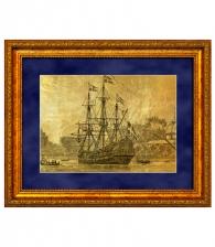 """Купить Картина на золоте """"Фрегат в бухте"""" в подарок моряку"""