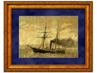 """Эксклюзивный подарок моряку Картина на золоте """"Корабль с трубой"""""""