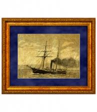 Картина на золоте «Корабль с трубой»