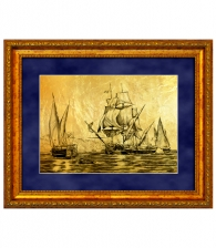 Картина на золоте «Морской бой»