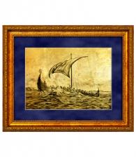 Картина на золоте «Парусная ладья»