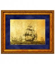 Картина на золоте «Эскадра парусников»