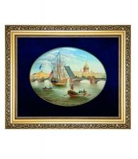 Лаковая миниатюра панно «Дворцовый мост»