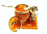 Емкость для меда из янтаря «Мишка»