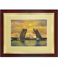Гравюра на металле «Мосты Санкт-Петербурга на закате»