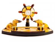 часы настольные из янтаря морской штурвал