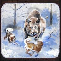 """Картина на дереве """"Охота на кабана"""" фото 2"""