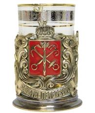 Подстаканник «Герб Петербурга» эмаль