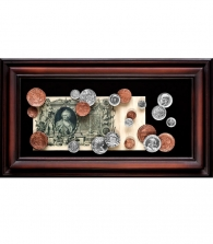 Панно «Купюра Екатерина Вторая с монетами»