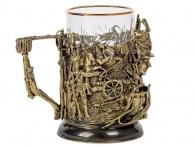 бронзовый подстаканник со стаканом гусар
