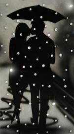 Картина с кристаллами «Влюбленные под зонтом»