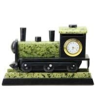 """Часы """"Паровоз"""" (змеевик) подарок железнодорожнику"""