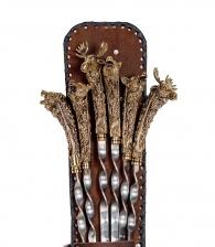 Шампуры Трофейные из бронзы в кожаном чехле