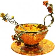 Чайная пара из янтаря «Малиновка»