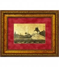 Картина на золоте «Медный всадник и сенатская площадь»
