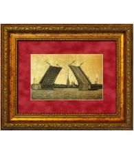 Картина на золоте «Мосты Санкт-Петербурга»