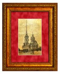 """Картина на золоте """"Петропавловский собор"""""""