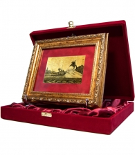 """Картина на золоте """"Медный всадник и сенатская площадь"""" в подарочной коробке"""