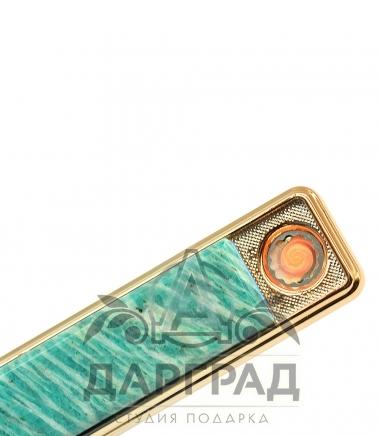 USB Зажигалка с нат. камнем «Амазонит»