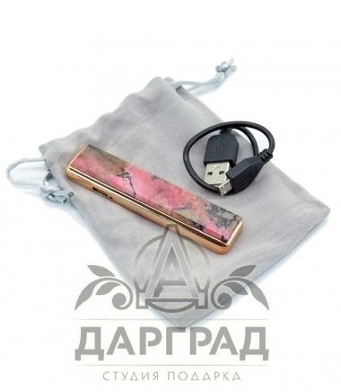 USB Зажигалка с нат. камнем «Родонит»