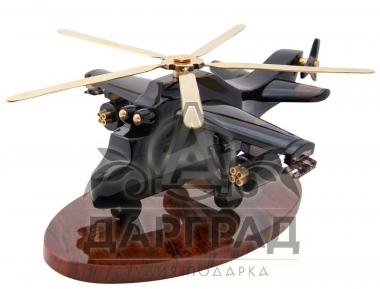 военный вертолет из обсидиана на подставке
