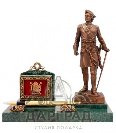 эксклюзивный подарок Настольная визитница «Петр Великий» для руководителя в магазине подарков Дарград