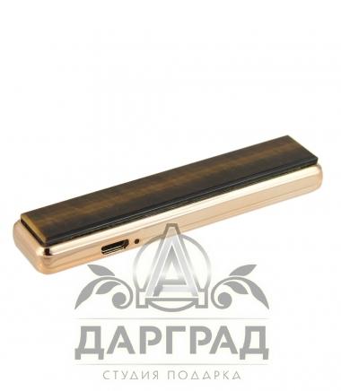 USB Зажигалка с нат. камнем Тигровый глаз
